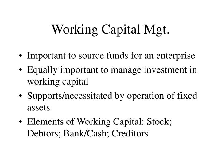 working capital mgt n.