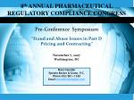 8 th  ANNUAL PHARMACEUTICAL REGULATORY COMPLIANCE CONGRESS