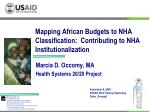 Mapping African Budgets to NHA Classification: Contributing to NHA Institutionalization