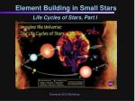 Element Building in Small Stars