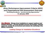 """Army Performance Improvement Criteria (APIC) and Organizational Self-Assessment Overview """"Revealing Excellence…and Disco"""