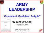"""ARMY LEADERSHIP 'Competent, Confident, & Agile"""" FM 6-22 (22-100) 12 October 2006 COL(R) Alexander"""
