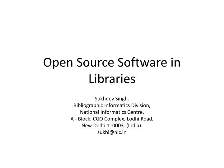 open source software in libraries n.