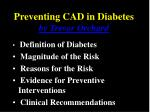 Preventing CAD in Diabetes by Trevor Orchard