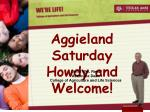 Aggieland Saturday Howdy and Welcome!