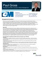 Paul Gross President and CEO, Insurance Claims Management
