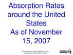 Absorption Rates around the United States As of November 15, 2007