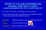 REPORT OF THE JUNE-SEPTEMBER 2005 NATIONAL BEEF QUALITY AUDIT; A NEW BENCHMARK FOR THE U.S. BEEF INDUSTRY.