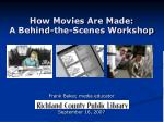 How Movies Are Made: A Behind-the-Scenes Workshop