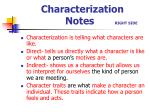 Characterization Notes RIGHT SIDE